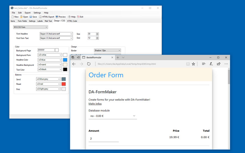 DA-OrderForm Screen shot