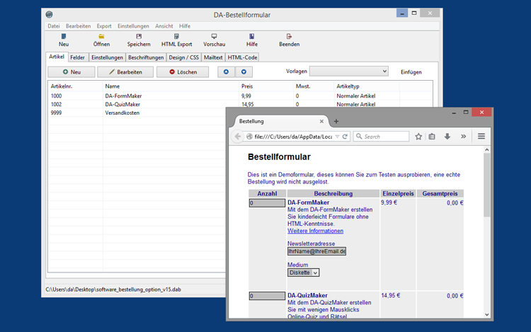 DA-BestellFormular 2.1.0 für Windows