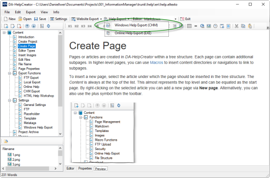Screenshot of a program for CHM creation and export