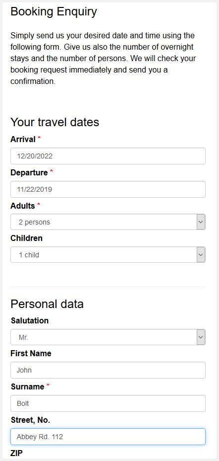 Screenshot of a booking request form in responive design