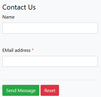 Screenshot of a contact form with rectangular frames of the form fields