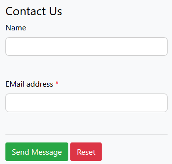 Screenshot of an online form with rounded corners of the form fields