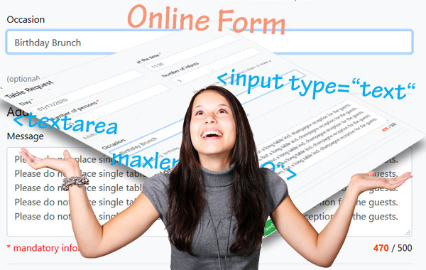 Screenshots online form, website form and HTML form