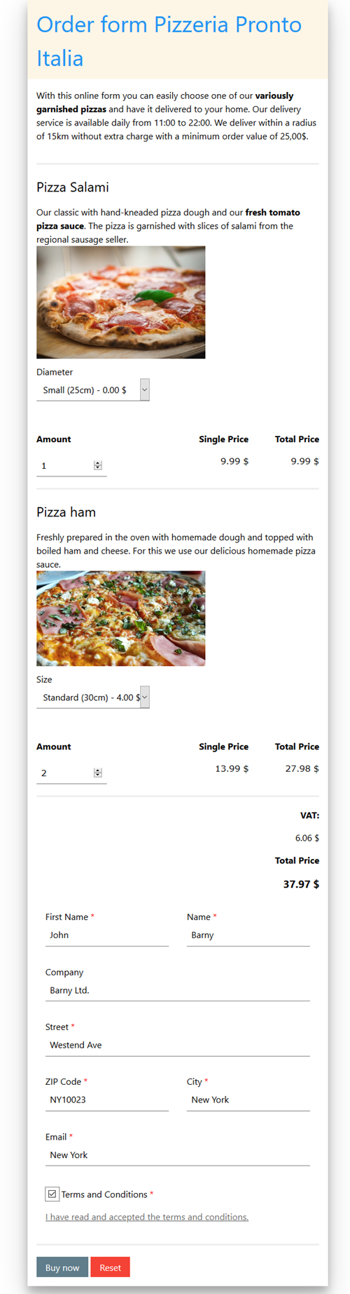 Online order form delivery service pizzeria